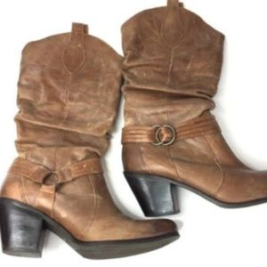 Matisse Willy Boots Womens 10 Brown Leather Slouch